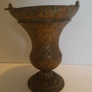Metal Footed Vase or Pail with Handle Leaf Shell